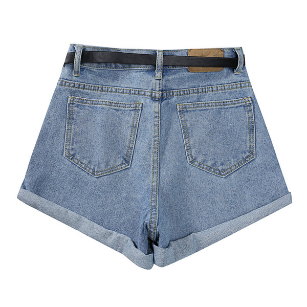 2018 Korean summer new wild thin belt denim shorts women - The Toasted Coconut