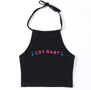 Classic summer sexy tops harajuku cute kwaii cry baby print cropped short tight lacing camis women crop top - The Toasted Coconut