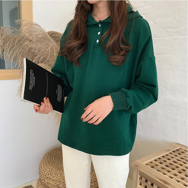 New Korean Soft Sister Single-breasted Hooded Sweatshirts Women Spring Long Sleeve Loose Pullover Hoodies Woman Casual Tops - The Toasted Coconut
