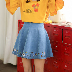 'Curtsy' Flared Denim Skirt
