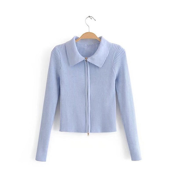 Ribbed Knit Zip-Front Cardigan