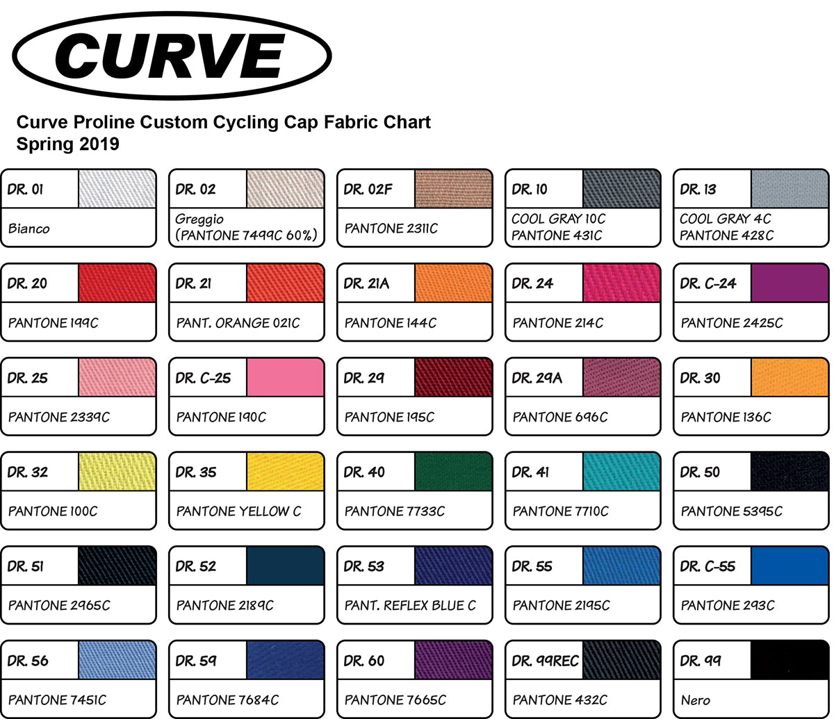 Custom Cycling Cap Fabric Color Chart
