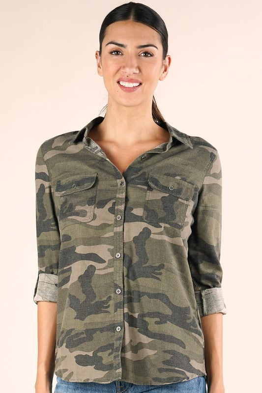 Tyler Camo Button Down Top