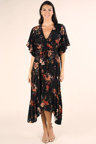 Floral Angel Sleeve Ruffled Plunge Maxi Dress