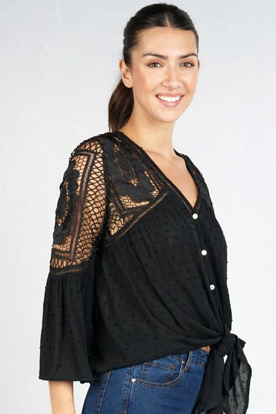 EYELET ISLAND NIGHTS TIE TOP