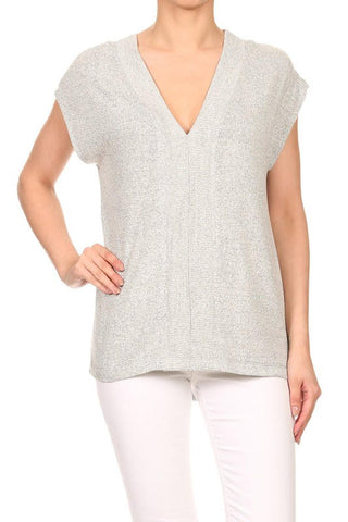 May Grey Plunge Neck Top