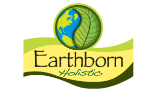 Earthborn logo, a globe with a green leaf, on top of Earthborn Holistic text and a green and yellow banner.