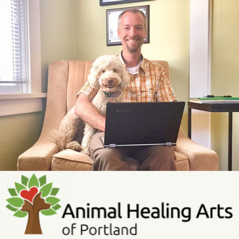 Dr. Keith Weingardt and patient, Animal Healing Arts
