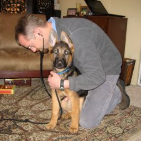 Dr. Keith and German Shepherd puppy