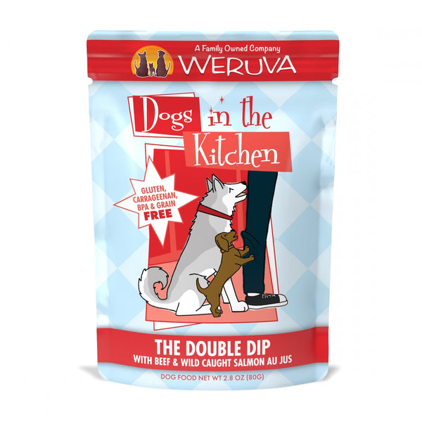 Dogs in the Kitchen The Double Dip Grain-Free Beef and Salmon Dog Food Pouches
