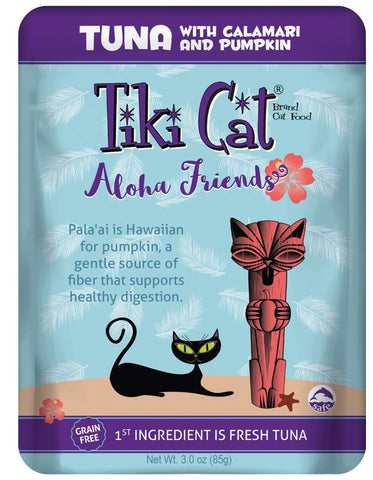 Tiki Cat Aloha Friends Grain Free Tuna with Calamari and Pumpkin Cat Food Pouches