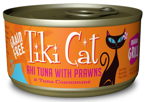 Manana Grill Grain-Free Ahi Tuna With Tiger Prawns In Tuna Consomme  Canned Cat Food