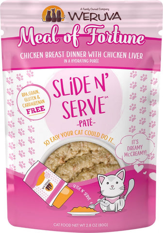 Slide N' Serve Grain-Free Meal of Fortune Chicken Breast Dinner with Chicken Liver Wet Cat Food Pouch