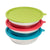 6 Piece Set 3 Stainless Steel Dog Bowls & 3 Colored Silicone Lids Storage Solution