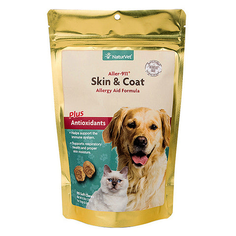 Aller-911 Skin & Coat Allergy Aid Formula Plus Antioxidants Dog & Cat Soft Chews