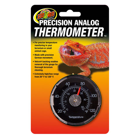 Precision Analog Thermometer Velcro Gauge Reptile Temperature Monitoring System
