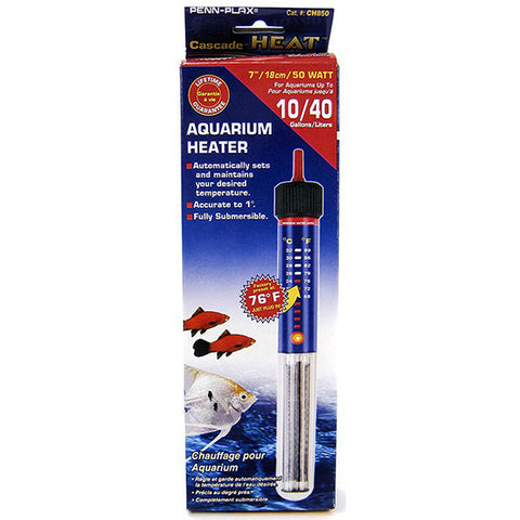 Cascade Submersible Aquarium Heater 50 Watt 10 Gallon