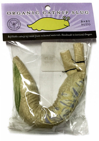 "Organic Catnip ""Baby Slug"" Handmade Recycled Materials Cat Toy"