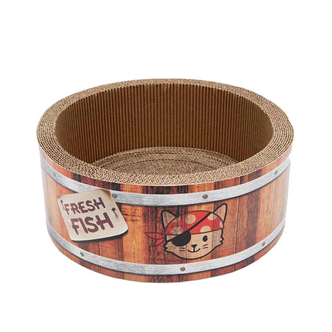 Play Pirates Barrel Scratcher with Catnip Cat Toy