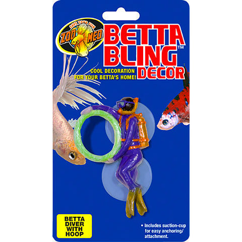 Betta Bling Deep Sea Diver With Hoop & Suction Cups Aquarium Decor