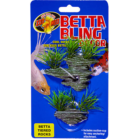 Betta Bling Tiered Rocks With Suction Cups Aquarium Decor