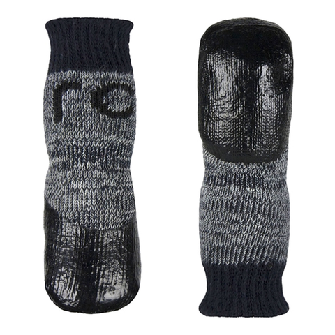 Sport Pawks Protective Dog Socks with Anti-Slip Gripper Bottom Charcoal & Heather Grey