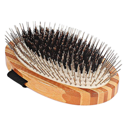 Bamboo Palm Boar Bristles & Wire Pin Dog Brush