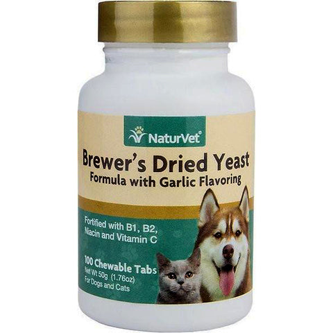 Brewer's Dried Yeast Formula Garlic Flavored Skin & Coat Supplement Dog & Cat Chewable Tablets