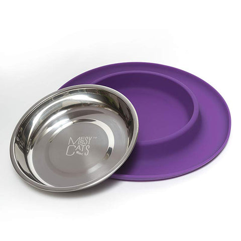 Silicone & Stainless Steel Cat Bowl Purple