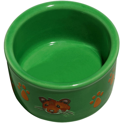 Ceramic Paw Print & Hamster Pattern Small Animal Dish Green