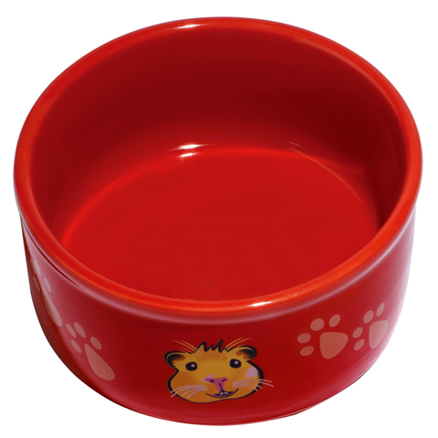 Ceramic Paw Print & Guinea Pig Pattern Small Animal Dish Red