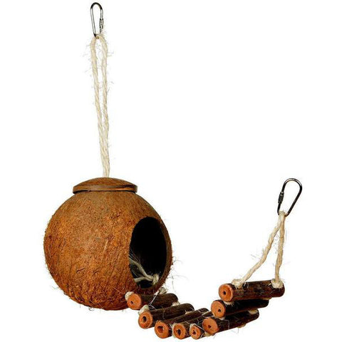 Naturals Coco Hideaway with Ladder Hanging Coconut Bird Hideout