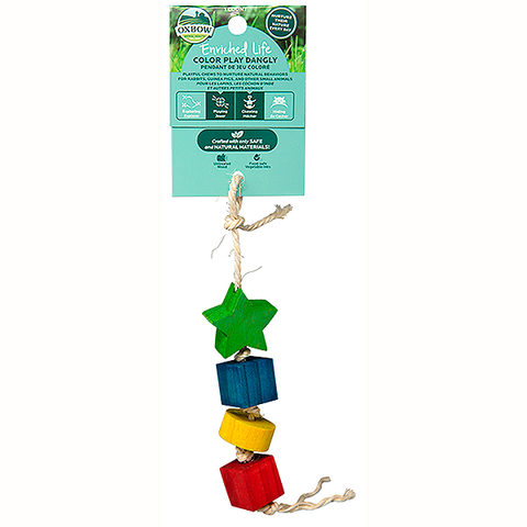 Enriched Life Color Play Dangly Rope & Wood Small Animal Toy