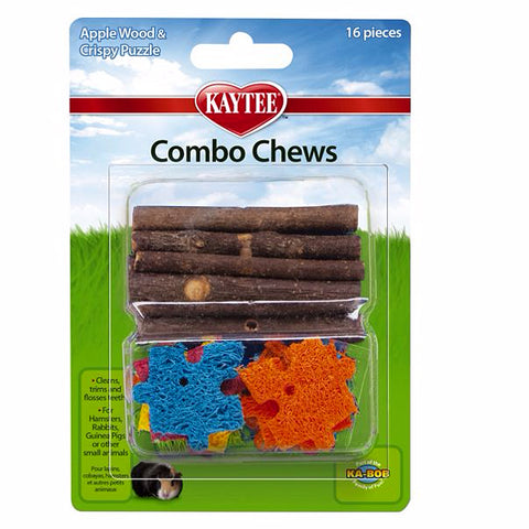 Combo Chews Apple Wood & Crispy Loofah Puzzle Pieces Small Animal Chew Toy 16 Piece