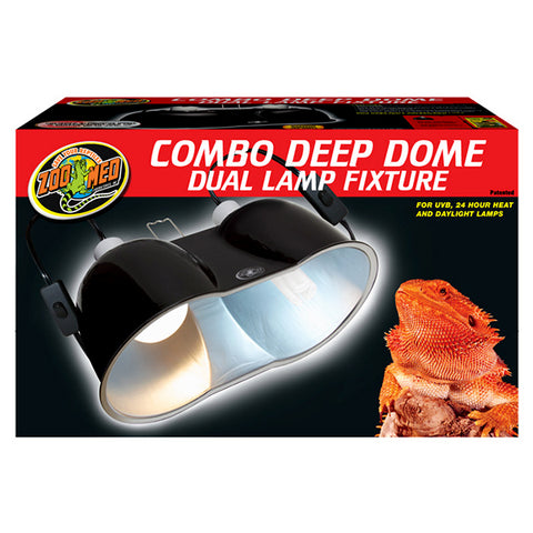Combo Deep Domb Dual Lamp Fixture with On/Off Switch Reflective Aluminium & Ceramic Black