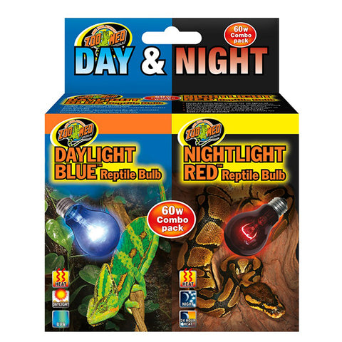 Day & Night Bulb Combo Pack Daylight Blue & Nightlight Red Reptile Lighting