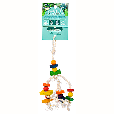 Enriched Life Deluxe Color Dangly Rope & Wood Hanging Small Animal Toy