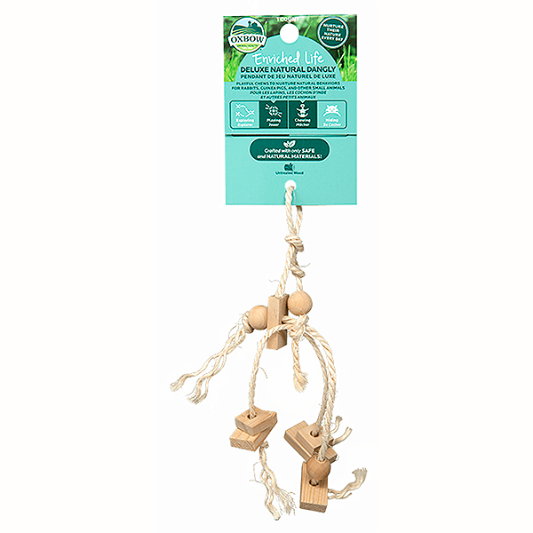 Enriched Life Deluxe Natural Dangly Rope & Wood Hanging Small Animal Toy