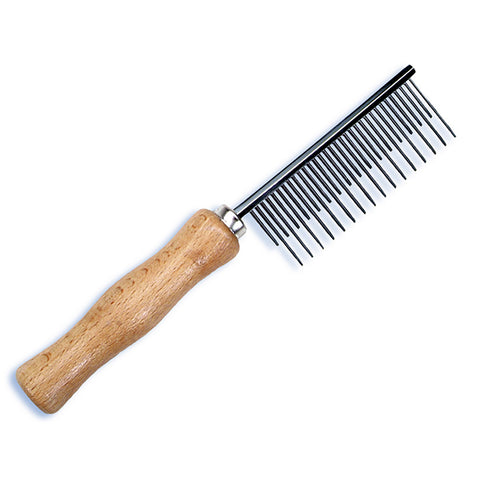 Safari De-Shedding Skip Tooth Metal Dog Comb with Wooden Handle