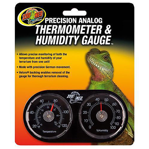Precision Analog Dual Gauge Velcro Reptile Temperature & Humidity Monitoring
