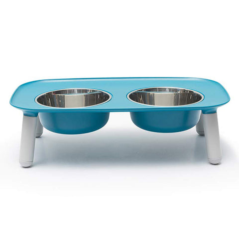 Elevated Stainless Steel & Silicone Food & Water Dog Bowl Set Blue