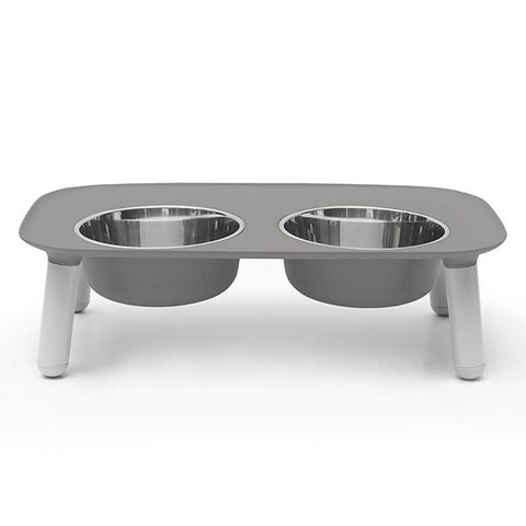 Elevated Stainless Steel & Silicone Food & Water Dog Bowl Set Grey