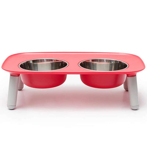 Elevated Stainless Steel & Silicone Food & Water Dog Bowl Set Red
