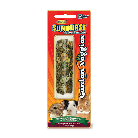 Sunburst Garden Veggies Gourmet Small Animal Treat Stick for Rabbits, Guinea Pigs, & Chinchillas