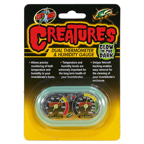 Creatures Glowing Dual Analog Velcro Color Gauge Insect & Arthropod Temperature & Humidity Monitoring