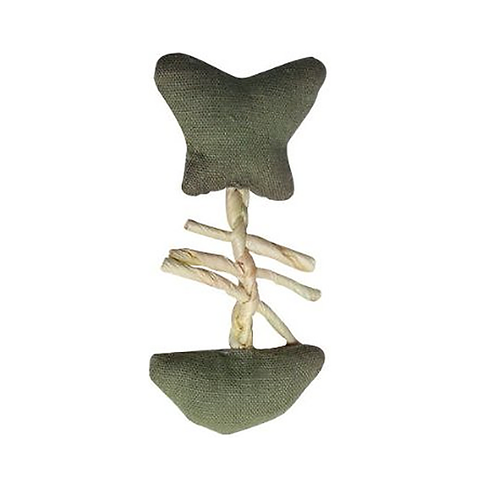 Eco Terra Natural Linen & Raffia Green Fish Cat Toy