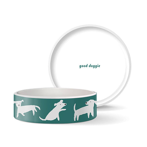 PetShop Green with White Dogs Ceramic Pet Bowl