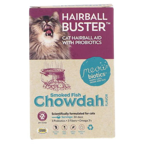 Meowbiotics Hairball Buster Smoked Fish Chowdah Flavor Probiotic Cat Supplement