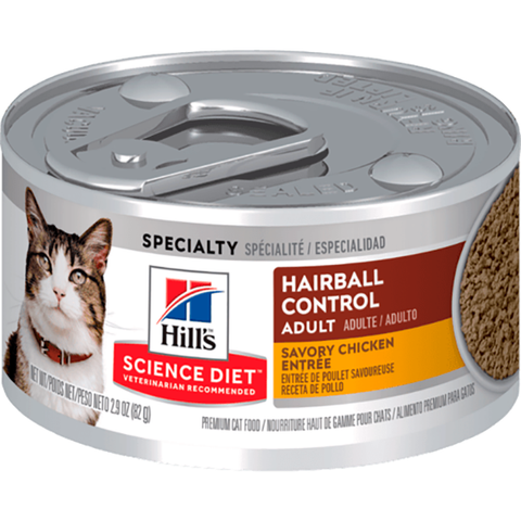 Adult Hairball Control Savory Minced Chicken Entrée Wet Canned Cat Food