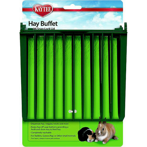 Hay Buffet with Snap-Lock Lid Mountable Small Animal Hay Feeder